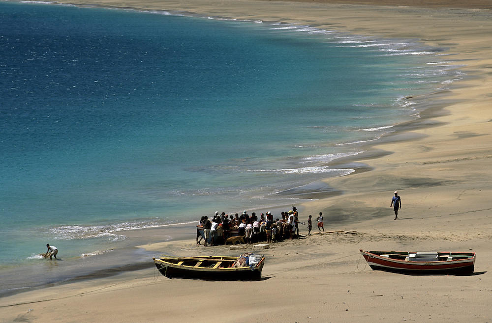 Fishermen in Sao Pedro beach. This beach can be seen during landing in Sao Vicente island  because the airport strip is located few meters away from the beach.