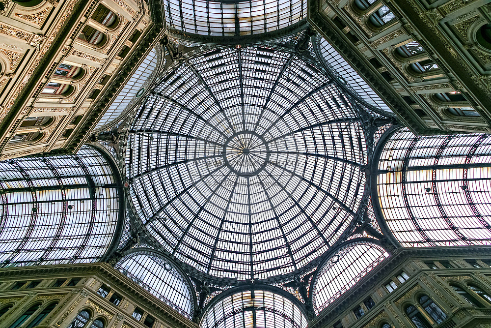 View looking up of the ceiling of the Galleria Umberto I public shopping gallery in Naples, southern Italy. Built between 1887–1891 by Emanuele Rocco.