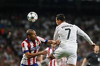 Real Madrid's Cristiano Ronaldo (R) and Atletico del Madrid´s Joao Miranda during quarterfinal second leg Champions League soccer match at Santiago Bernabeu stadium in Madrid, Spain. April 22, 2015. (ALTERPHOTOS/Victor Blanco)