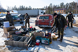 The Big Boys Big Toys team from Moscow had a big crew prepping their cars before the start of the Baikal Mile Ice Speed Festival. Maksimiha, Siberia, Russia. Tuesday, February 25, 2020. Photography ©2020 Michael Lichter.