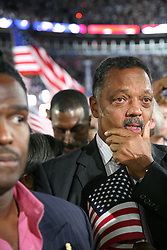 The Reverend Jesse Jackson reacts with emotion to Barack Obama's democratic presidential nomination speech at the Democratic National Convention, Invesco Field, Denver, Colorado, August 28, 2008. This photo was taken immediately after Obama spoke to the legacy of Dr. Martin Luther King, Jr.