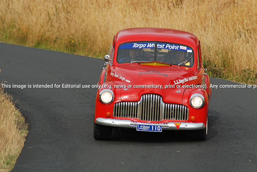 110 Andrew Jones & Laurie Smythe .1953 Holden FJ.Day 2.Targa Wrest Point 2010.Southern Tasmania.31st of January 2010.(C) Sarah Biggin.Use information: This image is intended for Editorial use only (e.g. news or commentary, print or electronic). Any commercial or promotional use requires additional clearance.