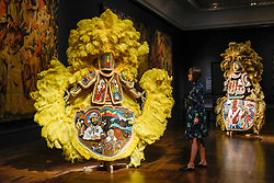 "© Licensed to London News Pictures. 13/09/2019. LONDON, UK. ""Black Masking Culture"" by Big Chief Demond Melancon of the Young Seminole Hunters and Assemble on display at the V&A museum as part of London Design Festival.  The festival, now in its 17th year, includes installations across the capital and runs 14 to 22 September 2019.  Photo credit: Stephen Chung/LNP"