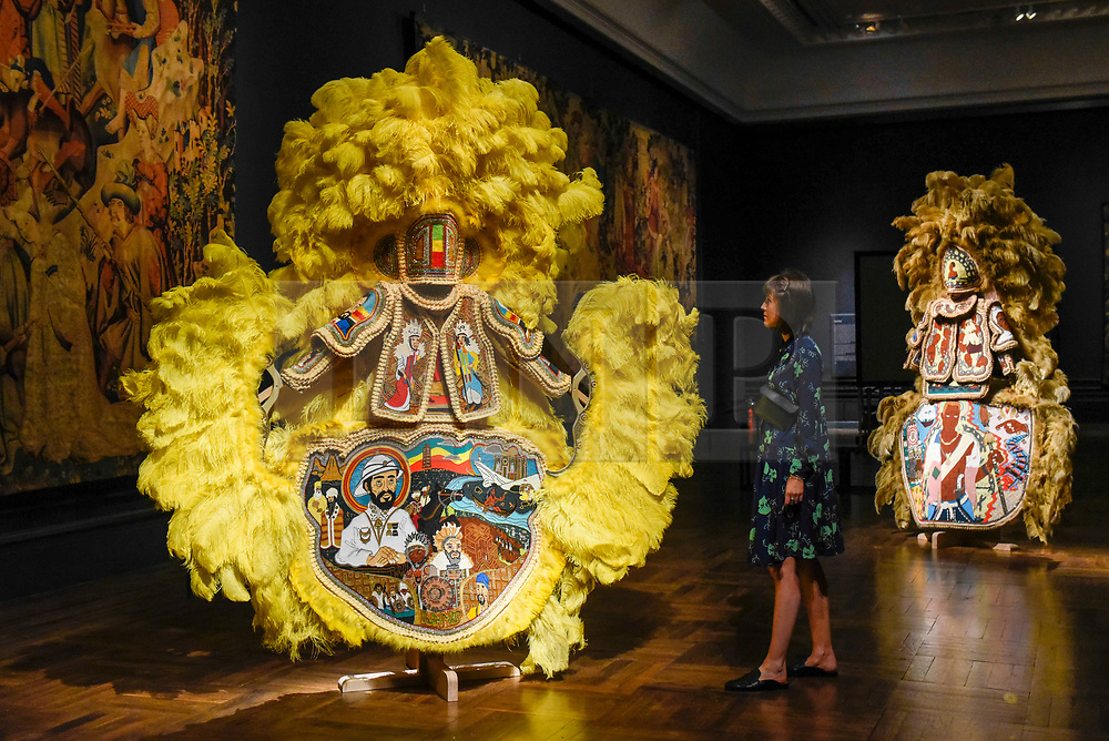 """© Licensed to London News Pictures. 13/09/2019. LONDON, UK. """"Black Masking Culture"""" by Big Chief Demond Melancon of the Young Seminole Hunters and Assemble on display at the V&A museum as part of London Design Festival.  The festival, now in its 17th year, includes installations across the capital and runs 14 to 22 September 2019.  Photo credit: Stephen Chung/LNP"""