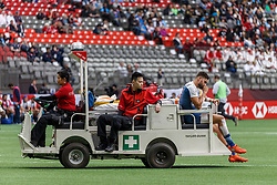 March 10, 2018 - Vancouver, British Columbia, U.S. - VANCOUVER, BC - MARCH 10: Injured France player transported off the field during Game # 3- Kenya vs France Pool C match at the Canada Sevens held March 10-11, 2018 in BC Place Stadium in Vancouver, BC. (Photo by Allan Hamilton/Icon Sportswire) (Credit Image: © Allan Hamilton/Icon SMI via ZUMA Press)