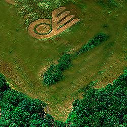 Aerial view of hockey Flyers Logo in a farm outside philadlephia