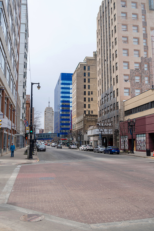 View of downtown Milwaukee, Wisconsin, USA, corner of W. Wisconsin Avenue and N. 2nd Avenue.
