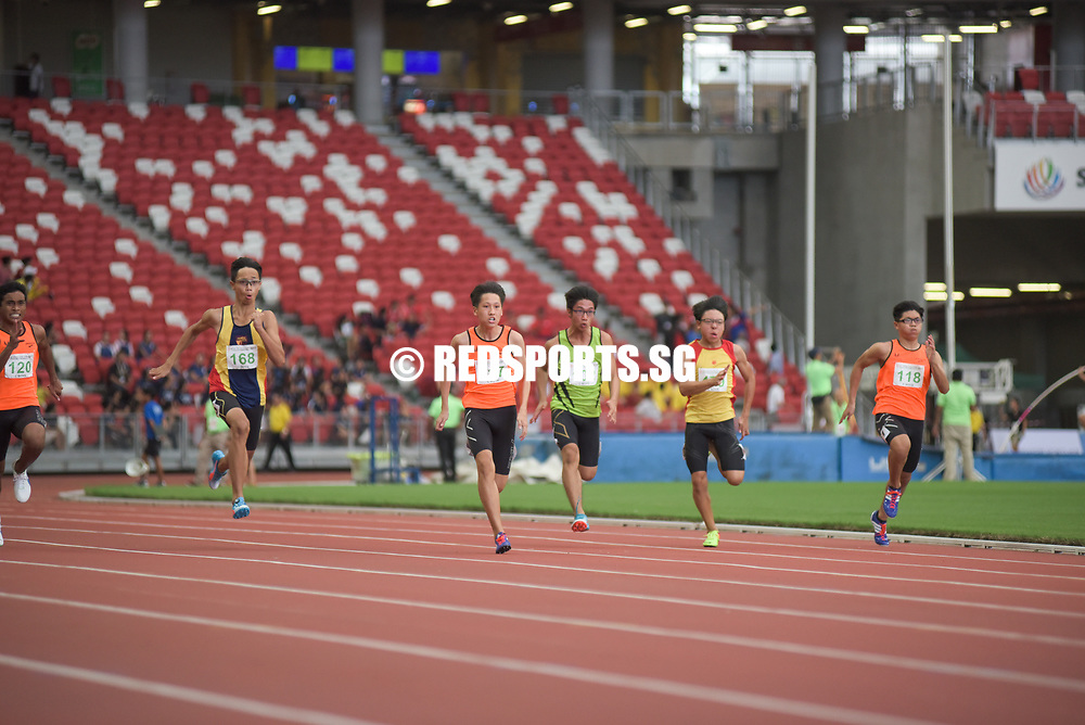 C Division Boys in action at the start of their race. Jeff Tay (#117) of Singapore Sports School clinched the gold medal with a timing of 00:11.84, Muhammad Adhwa' b Buhardeen (#120) of Singapore Sports School clinched the silver medal with a timing of 00:12.02 and Samuel Lim (#168) of Anglo-Chinese School (Independent) clinched the bronze medal with a timing of 00:12.11. Story: https://www.redsports.sg/2017/05/03/b-c-div-100m-elizabeth-ann-tan/