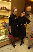 Justine Picardie and Lady Amanda Harlech. Christopher Bailey hosts a party to celebrate the launch of ' The Snippy World of New Yorker Fashion Artist Michael Roberts' Burberry, New Bond St.  London. 19  September 2005. ONE TIME USE ONLY - DO NOT ARCHIVE © Copyright Photograph by Dafydd Jones 66 Stockwell Park Rd. London SW9 0DA Tel 020 7733 0108 www.dafjones.com