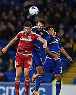 Cardiff city's Fabio Da Silva, Sean Morrison © head clear from Middlesbrough's Fernando Amorebieta. Skybet football league championship match, Cardiff city v Middlesbrough at the Cardiff city Stadium in Cardiff, South Wales  on Tuesday 20th October 2015.<br /> pic by  Andrew Orchard, Andrew Orchard sports photography.