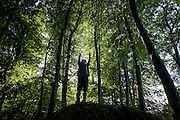 A four year-old boy plays below beech trees on a mound in Somerset woods. Jumping and stretching up towards the treetops amid the trees, the woods look dark and menacing although sunlight is shining between the branches in the height of summer. The young lad enjoys the freedom of the great outdoors, experiencing the joys of boyhood - memories that last forever in a life lead outside in the wild.
