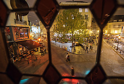 The view from the top floor of the trendy Mappa Mundo cocktail bar, looking down on to Place St. Gery and Le Roi Des Belges cocktail bar, in Brussels, Belgium on May 12, 2010. (Photo © Jock Fistick)