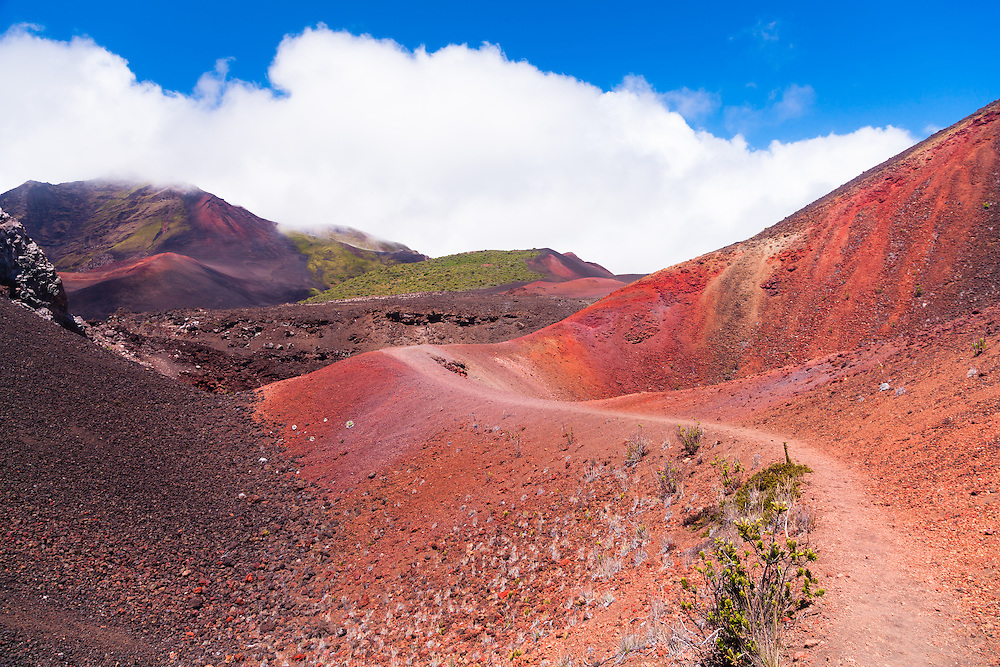 This trail winds through the red sands surrounding Halali'i, a dominant cinder cone inside the partial crater of the volcano Haleakala. Dozens of cinder cones can be seen in Haleakala National Park, Maui, Hawai'i.