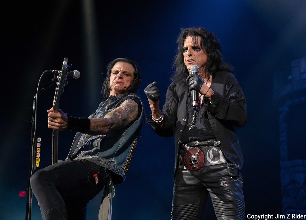 After nearly 19 months off stage, Rock and Roll legend ALICE COOPER, 73, launches his fall 2021 tour at Ocean Casino Resort in Atlantic City, New Jersey.  Base player CHUCK GARRIC, is at left.