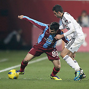 Trabzonspor's Volkan Sen (L) during their Turkish superleague soccer derby match Trabzonspor between Besiktas at the Avni Aker Stadium in Trabzon Turkey on Sunday, 27 November 2011. Photo by TURKPIX