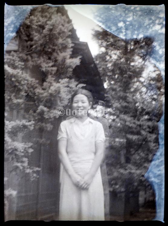 douple exposed portrait of a woman Japan ca 1940s
