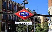 Metro station sign, Lavapiés, Madrid city centre, Spain