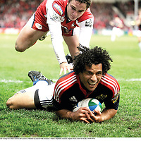 5 April 2008; Munster's Doug Howlett celebrates after crossing the try line to score his side's second try. Heineken Cup Quarter-Final, Gloucester v Munster, Kingsholm, Gloucester, England. Picture credit: Pat Murphy / SPORTSFILE *** Local Caption ***