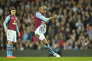 Fabian Delph, the Aston Villa captain takes a free kick. The FA cup, 6th round match, Aston Villa v West Bromwich Albion at Villa Park in Birmingham, Midlands on Saturday 7th March 2015<br /> pic by John Patrick Fletcher, Andrew Orchard sports photography.