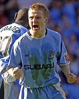 Photo. Glyn Thomas. <br /> Coventry City v Brighton and Hove Albion. <br /> Coca Cola Championship. 02/04/2005.<br /> Coventry's Gary McSheffrey celebrates after scoring his penalty past Brighton keeper Alan Blaney.