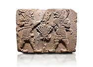 Aslantepe Hittite relief sculpted orthostat stone panel of Lion Men. Limestone, 1399-1301 BC. Anatolian Civilizations Museum, Ankara, Turkey.<br /> <br /> There are two lion-men with a sword at their waists on both sides of the tree of life. The figure on the right holds a sickle in his left hand resting on his shoulder and a symbol his right hand. The figure on the left carries a double-faced ax in his right hand. .<br />  <br /> If you prefer to buy from our ALAMY STOCK LIBRARY page at https://www.alamy.com/portfolio/paul-williams-funkystock/hittite-art-antiquities.html . Type - Aslantepe - in LOWER SEARCH WITHIN GALLERY box. Refine search by adding background colour, place, museum etc.<br /> <br /> Visit our HITTITE PHOTO COLLECTIONS for more photos to download or buy as wall art prints https://funkystock.photoshelter.com/gallery-collection/The-Hittites-Art-Artefacts-Antiquities-Historic-Sites-Pictures-Images-of/C0000NUBSMhSc3Oo