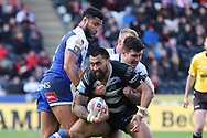 Hull FC loose forward Ligi Sao (13) tries to play the ball  during the Betfred Super League match between Hull FC and St Helens RFC at Kingston Communications Stadium, Hull, United Kingdom on 16 February 2020.