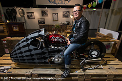 Sebastien Lorentz of Lucky Cat Garage France in his Satans of Sprint racer display in the custom themed Hall 10 at the Intermot Motorcycle Trade Fair. Cologne, Germany. Wednesday October 5, 2016. Photography ©2016 Michael Lichter.