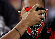 A D.C. United fan shows his furstration after Jaime Moreno is ejected in the 7th minute of the match against the San Jose Earthquakes. D.C. United lost 2-0 to the visiting San Jose Earthquakes at RFK Stadium in Washington D.C.