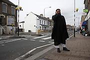 Islamist Anjem Choudary is deputy and main UK spokesman of the radical group al-Muhajiroun stands in the Leytonstone, London..
