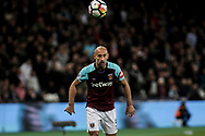 Pablo Zabaleta of West Ham United in action.  Premier league match, West Ham Utd v Huddersfield Town at the London Stadium, Queen Elizabeth Olympic Park in London on Monday 11th September 2017.<br /> pic by Kieran Clarke, Andrew Orchard sports photography.