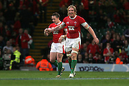 A happy Andy Powell (r) congratulates Shane Williams after the Welsh wingers 2nd try. Invesco perpetual series, Wales v Argentina at the Millennium Stadium in Cardiff on Sat 21st Nov 2009. pic by Andrew Orchard, Andrew Orchard sports photography,