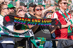 October 21, 2018 - Portland, OR, U.S. - PORTLAND, OR - OCTOBER 21, 2018: Portland Timbers fans celebrating a goal during the Portland Timbers 3-0 victory over Real Salt lake on October 21, 2018, at Providence Park in Portland, Oregon. (Photo by Diego Diaz/Icon Sportswire) (Credit Image: © Diego Diaz/Icon SMI via ZUMA Press)
