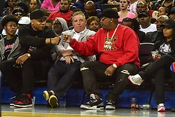 July 6, 2018 - Oakland, California, United States - Rappers LL Cool J (L) and E-40 (R) attend Week 3 of the BIG3 3-on-3 basketball league at Oracle Arena. (Credit Image: © Debby Wong via ZUMA Wire)