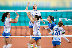 Players of Slovenia celebrate during the volleyball match between National team of Turkey and Slovenia in Gold Medal game of Womens U23 World Championship 2017, on September 17, 2017 in SRC Stozice, Ljubljana, Slovenia. Photo by Morgan Kristan / Sportida