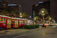 Street cars parked along Canal Stret in New Orleans, Louisiana, USA