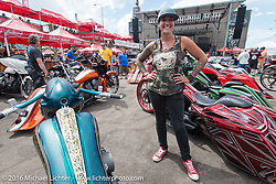 Jody Perewitz at the annual Perewitz Paint Show at the Iron Horse Saloon during the Sturgis Black Hills Motorcycle Rally. SD, USA. August 10, 2016.  Photography ©2016 Michael Lichter.