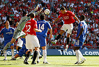 Photo: Richard Lane/Sportsbeat Images.<br />Manchester United v Chelsea. FA Community Shield. 05/08/2007. <br />Manchester United's Christiano Ronaldo heads as Chelsea's Petr Cech saves.