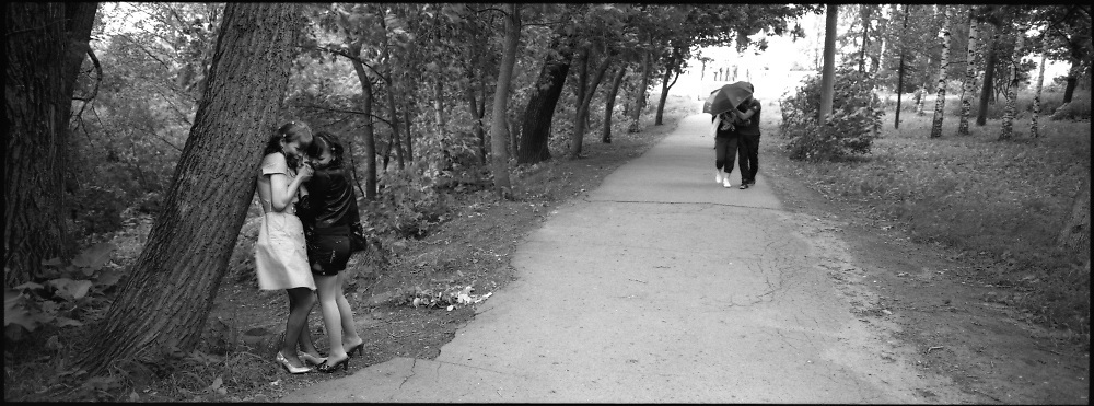 These photographs were made with the panoramic camera. The elongated format has inspired my new works. Most photos were taken in province and in Moscow in 2009 - 2010. The panoramic camera gave me a new look at usual situations