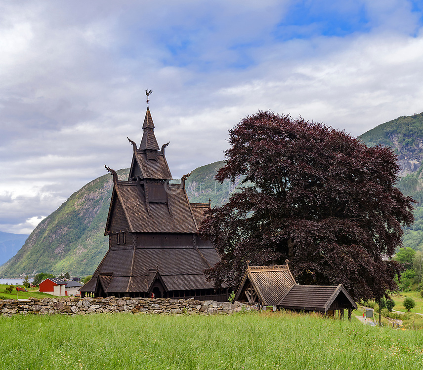 Hopperstad stave church from 1200 century in Vik, Vestland, Norway.