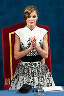 Queen Letizia of Spain attended the 'Princesa de Asturias Awards 2017 (Princess of Asturias awards)' ceremony at the Campoamor Theater on October 20, 2017 in Oviedo, Spain.