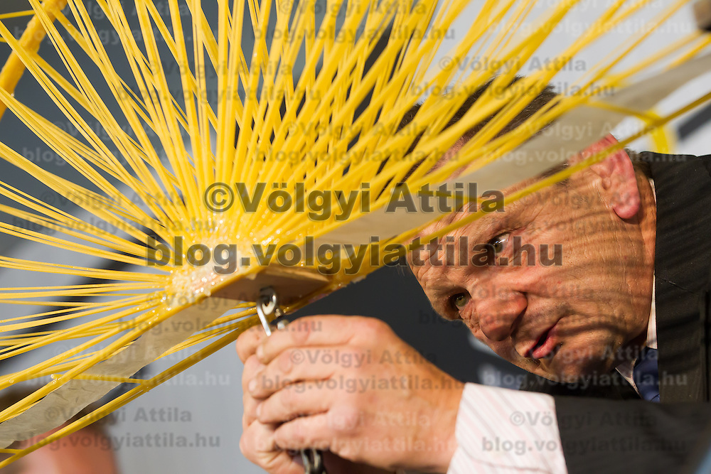 A judge attaches weight to a construction during the Spaghetti Bridge World Championship in Budapest, Hungary on May 24, 2013. ATTILA VOLGYI