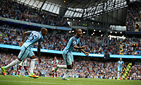 Football - Raheem Sterling of Manchester City celebrates scoring his sides third goal during the match at the Etihad Stadium between Manchester City and West Ham United. <br /> <br /> 2016 / 2017 Premier League - Manchester City vs. West Ham United<br /> <br /> -- at The Etihad Stadium.<br /> <br /> COLORSPORT/LYNNE CAMERON
