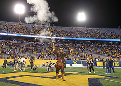 Sep 11, 2021; Morgantown, West Virginia, USA; The West Virginia Mountaineers mascot celebrates after defeating the Long Island Sharks at Mountaineer Field at Milan Puskar Stadium. Mandatory Credit: Ben Queen-USA TODAY Sports