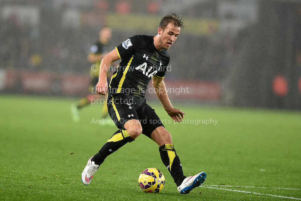 Harry Kane of Tottenham in action. Barclays Premier League match, Swansea city v Tottenham Hotspur at the Liberty Stadium in Swansea, South Wales on Sunday 14th December 2014<br /> pic by Andrew Orchard, Andrew Orchard sports photography.