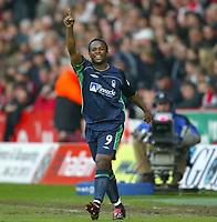 Photo Aidan Ellis.<br />Sheffield United v Nottingham Forest.<br />Nationwide Divison 1 Play Off Semi Final 2nd leg.<br />15/05/2003.<br />David Johnson celebrates his goal