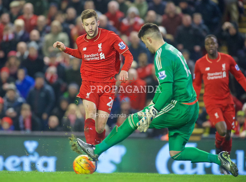 LIVERPOOL, ENGLAND - Sunday, December 13, 2015: Liverpool's Adam Lallana sees his shot saved by West Bromwich Albion's goalkeeper Boaz Myhill during the Premier League match at Anfield. (Pic by James Maloney/Propaganda)