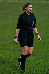 BIRKENHEAD, ENGLAND - Sunday, March 28, 2021: Referee Amy Barber during the FA Women's Championship game between Liverpool FC Women and Blackburn Rovers Ladies FC at Prenton Park. The game ended in a 1-1 draw. (Pic by David Rawcliffe/Propaganda)