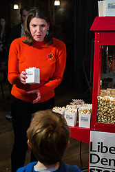 London, UK. 9 November, 2019. Jo Swinson, leader of the Liberal Democrats, distributes popcorn to children at the Rally for the Future in Battersea in order to set out the party's vision to Stop Brexit and Build A Brighter Future.