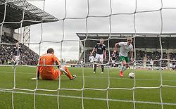 Hibernian's Jason Cummings scoring their second goal. <br /> Falkirk 0 v 3 Hibernian, Scottish Championship game played at The Falkirk Stadium 2/5/2015.