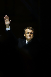 May 7, 2017 - Paris, France - EMMANUEL MACRON greets supporters after winning a decisive victory in the second round of the French presidential election. (Credit Image: © Panoramic via ZUMA Press)